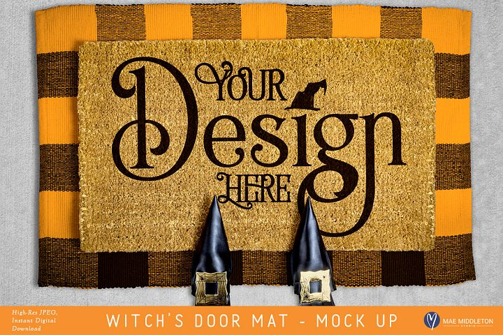 Halloween mock up - Witchs Shoes on Door Mat, styled photo