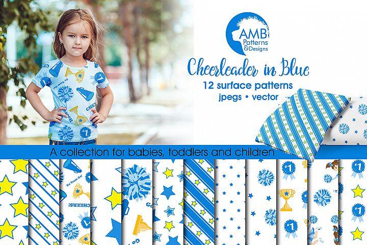 Cheerleader in Blue patterns,Cheerleader blue papers AMB-887