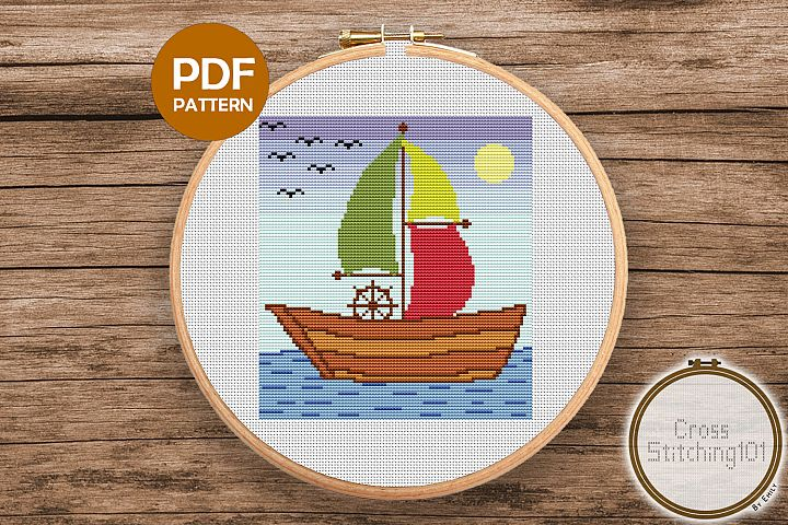 Ship Sailing in Sea Cross Stitch Pattern - Instant Download