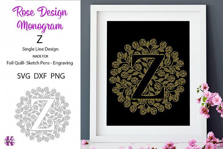 Monogram Z for Foil Quill|Single Line|Mandala