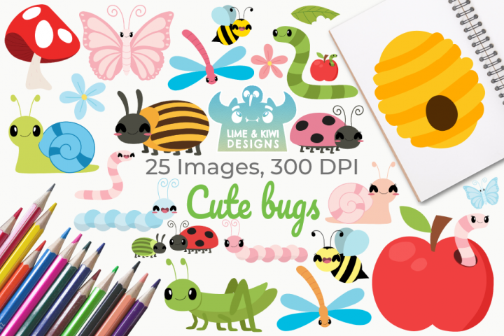 Cute Bugs Clipart, Instant Download Vector Art
