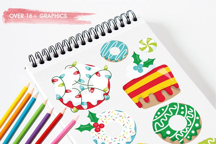 Christmas Cookies and Donuts graphics and illustrations example image 3