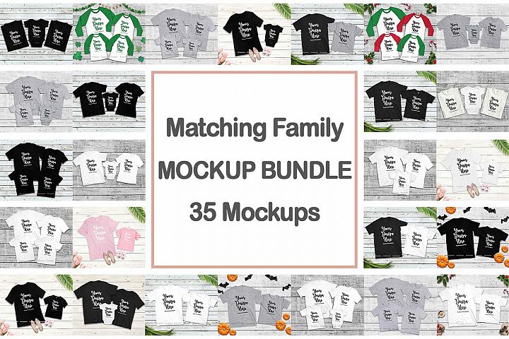 Family Tshirt Mockup Bundle, Kids Shirt Mock Up Bundle Set
