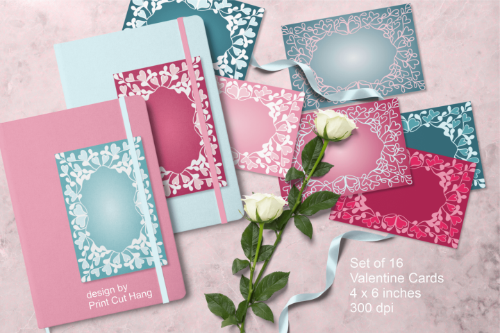 Blank Ornate Valentine Cards Set Hand Drawn Motifs PNG files