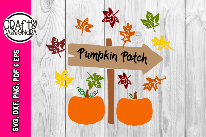 Halloween - Pumpkin patch sign - falling leaves svg - Fall
