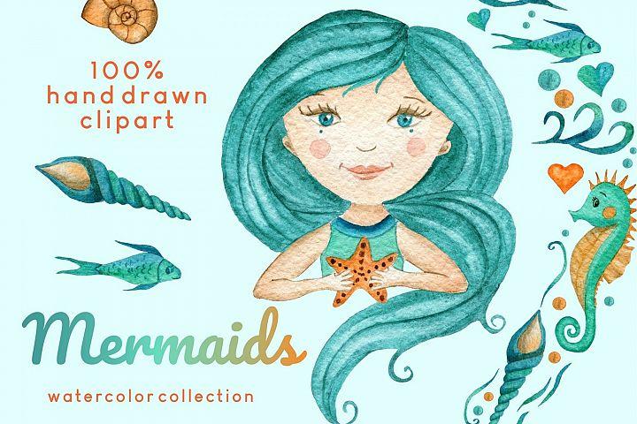 Watercolor Mermaid Painting Clipart Set