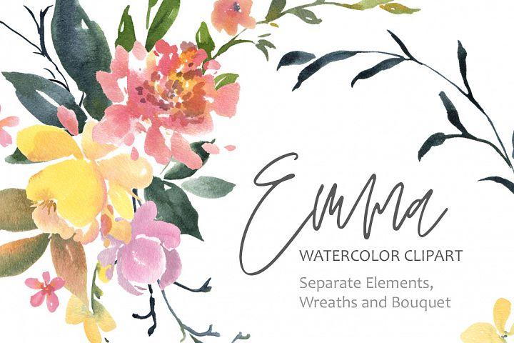 Watercolor flowers bouquet wreaths PNG