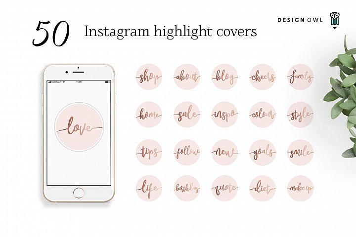 Instagram highlight covers - Rose gold script on pink