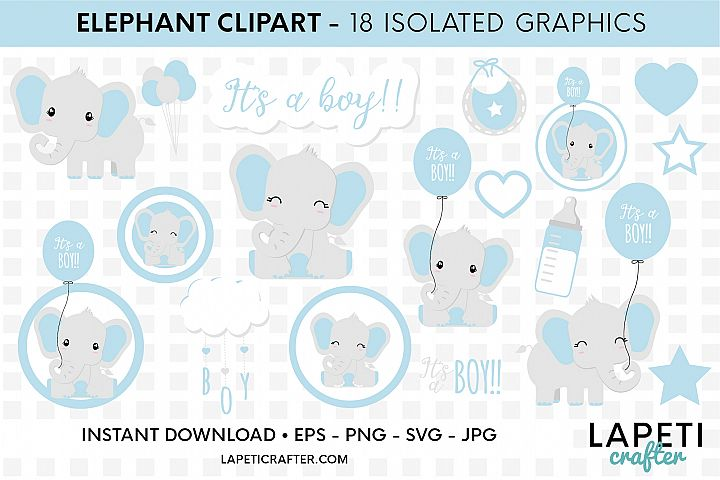 Its a boy Elephant clipart, gender reveal, baby shower svg