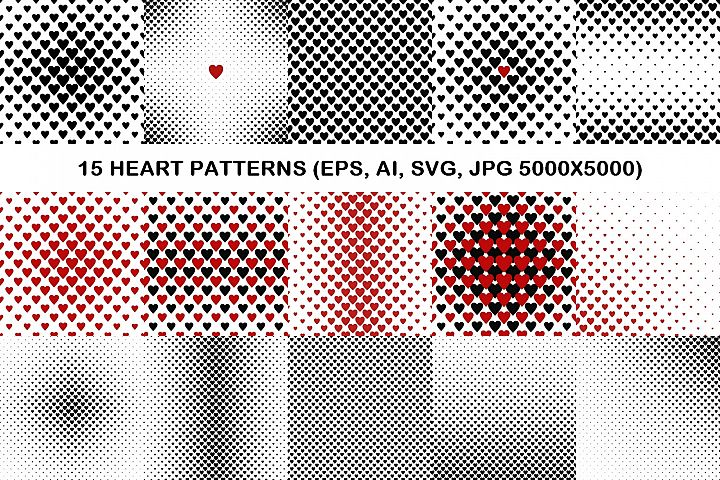 15 heart patterns (EPS, AI, SVG, JPG 5000x5000)