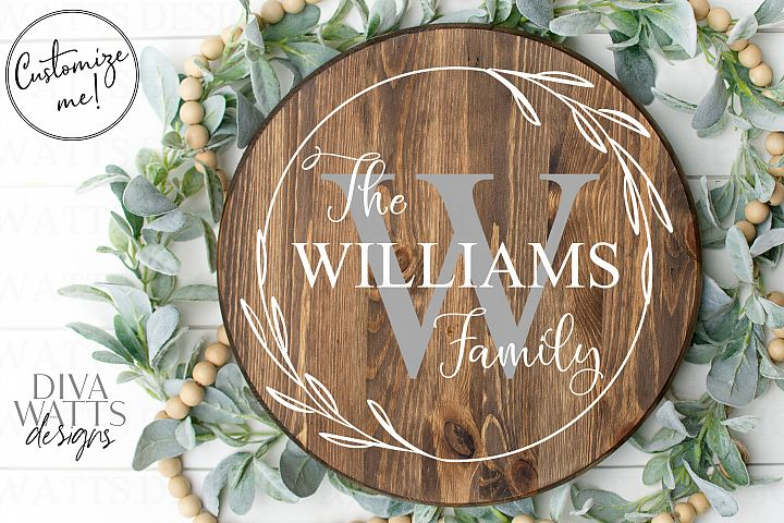 Monogram Wreath Family Last Name Farmhouse Sign SVG
