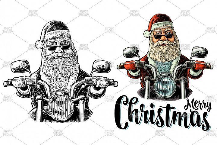 Santa Claus riding a classic chopper bike Vector engraving