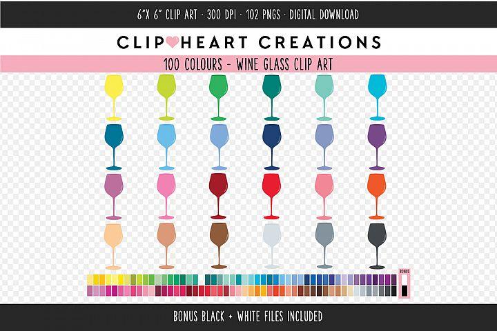 Wine Glass Clipart - 100 Colours