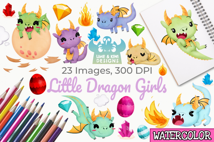 Little Dragon Girls Watercolor Clipart, Instant Download