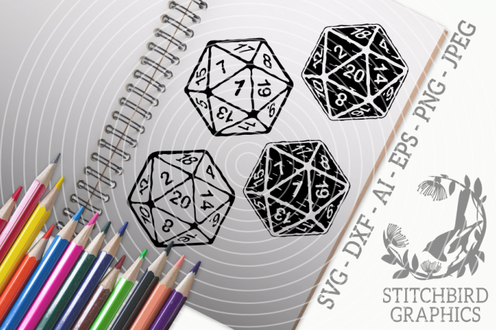 D20 Distressed Bundle SVG, Silhouette Studio, Cricut, Eps