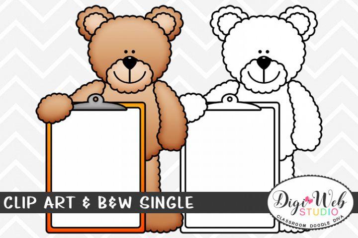 Clip Art & B&W Single - Teddy Bear Holding A Clipboard