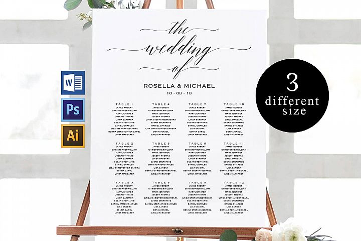 Wedding seating chart, printable seating chart, TOS_3
