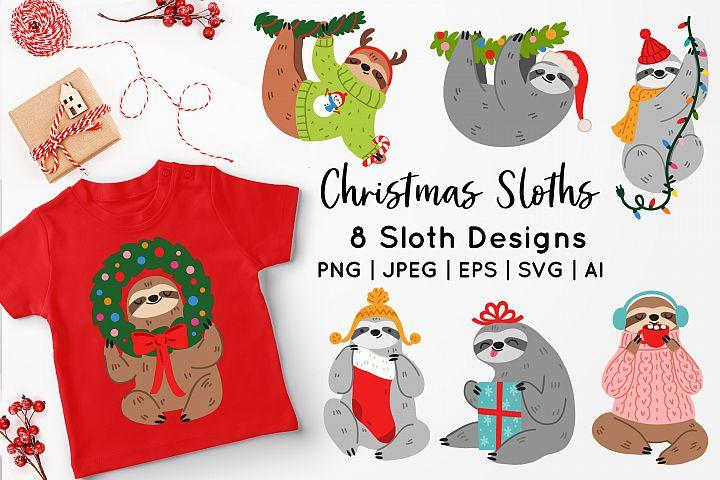 Christmas Sloths Vector Art