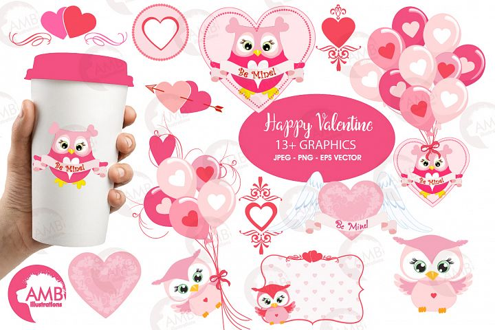 Happy Valentine clipart, Valentine owls clipart, graphics illustrations AMB-1147