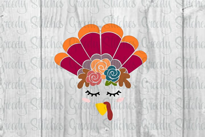 Thanksgiving Turkey Face with Flowers SVG, DXF, EPS, PNG