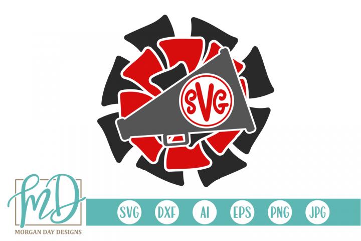 Cheer - Megaphone Monogram SVG, DXF, AI, EPS, PNG, JPEG