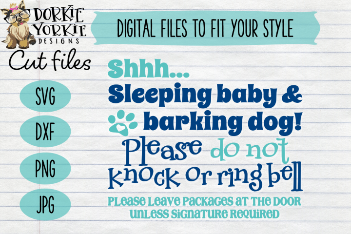 SHHHH Sleeping baby V1 - Do not Knock or ring bell - SVG Cut