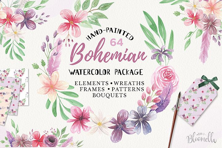 Bohemian Floral Watercolor HUGE Package Wedding Clipart