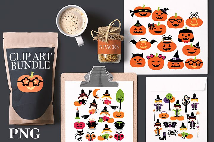 Halloween Clip Art Bundle - Witch Wizard Pumpkin