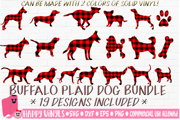 INTRO SALE Buffalo Plaid Dogs Bundle 19 Design SVG Cut Files