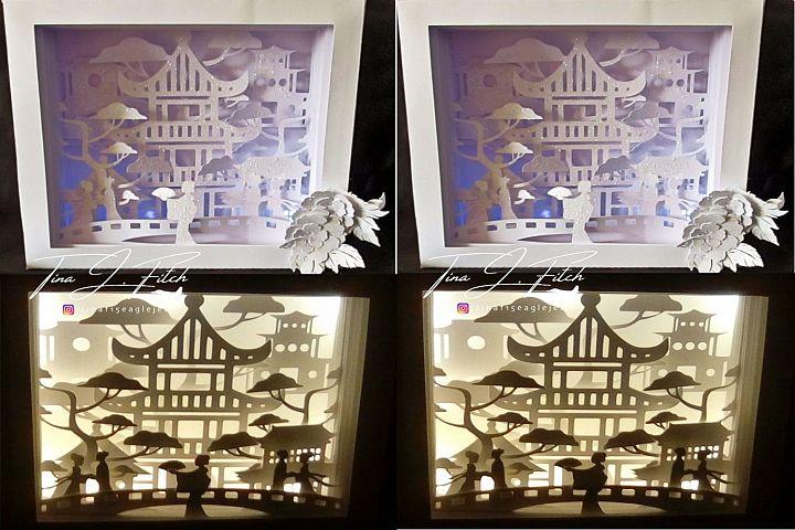 Chinese Luminaire Box Template, SVG.