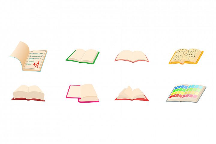 Open book icon set, cartoon style