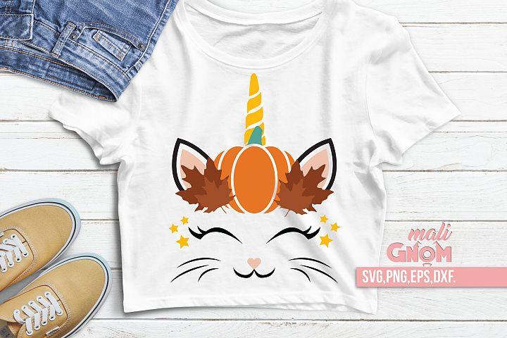 Caticorn svg Pumpkin, Fall, Autumn ,Cat Unicorn head Svg