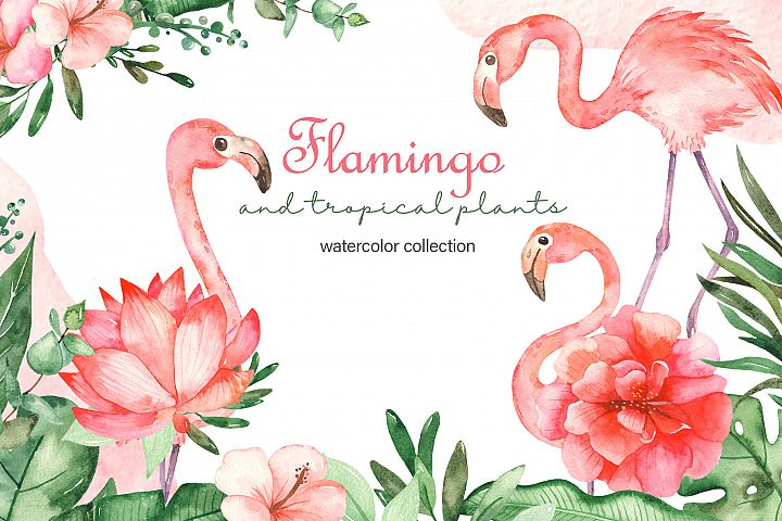 Flamingo and tropical plants watercolor collection clipart