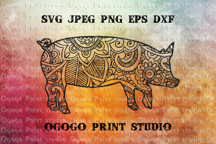 Mandala style Pig Svg, Farm animal, Zentangle SVG, Boho svg,