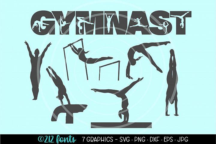 Gymnast Gymnastics Graphic Clip Art Cut Files DXF PNG SVG