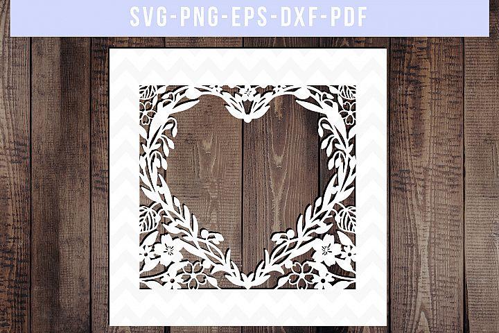 Wedding Card Cover SVG Cut File, Wedding Papercut, DXF, PDF