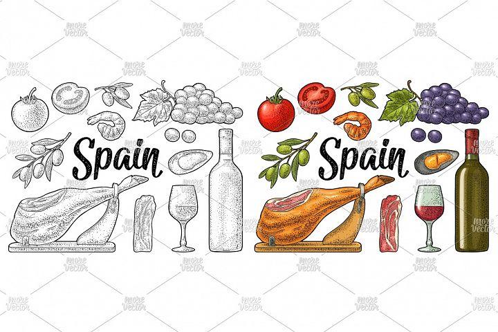 Spain traditional food set, jamon. Vector vintage engraving