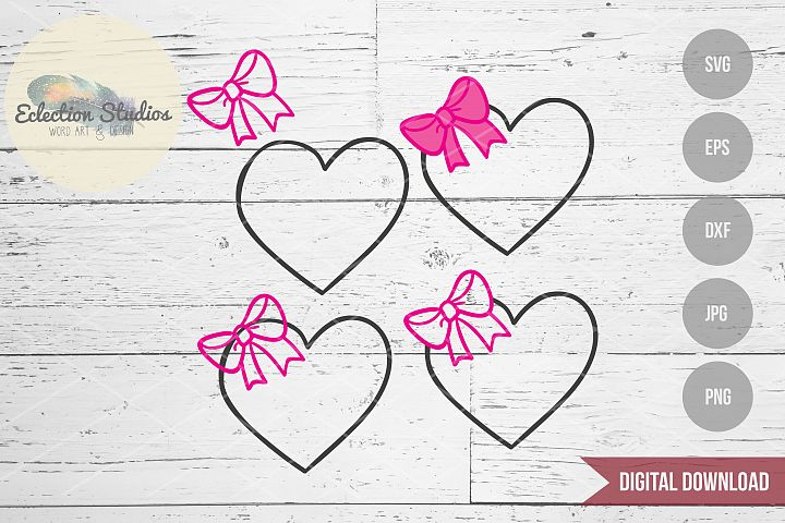 Heart and Bow Valentines Day SVG