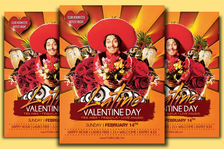 Valentine Day Latino Party Flyer Template