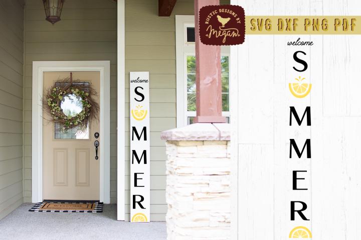 Welcome Summer Lemon Wood Sign SVG DXF