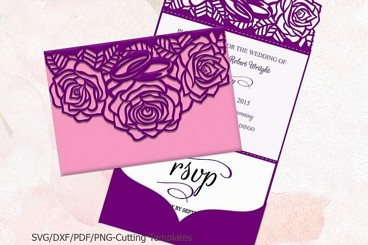 Roses Trifold Wedding Invitation laser machine cut template