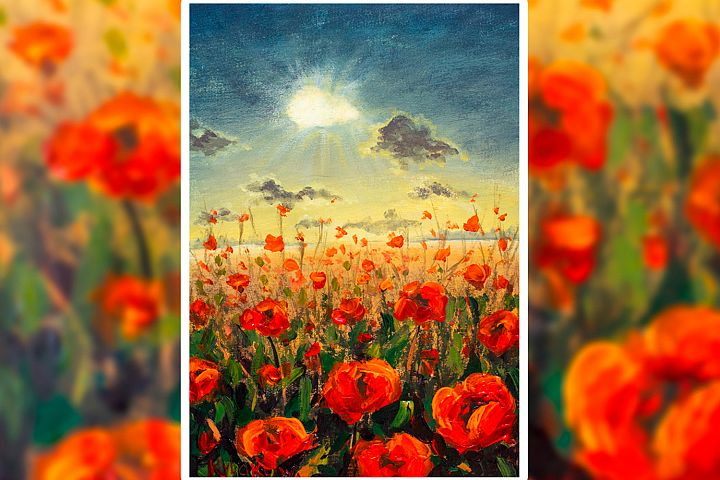 Field of red poppies flowers Impressionism modern painting