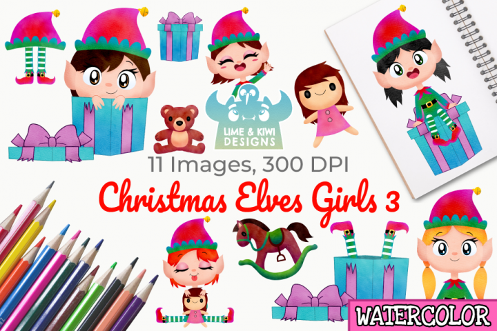 Christmas Elves Girls 3 Watercolor Clipart, Instant Download