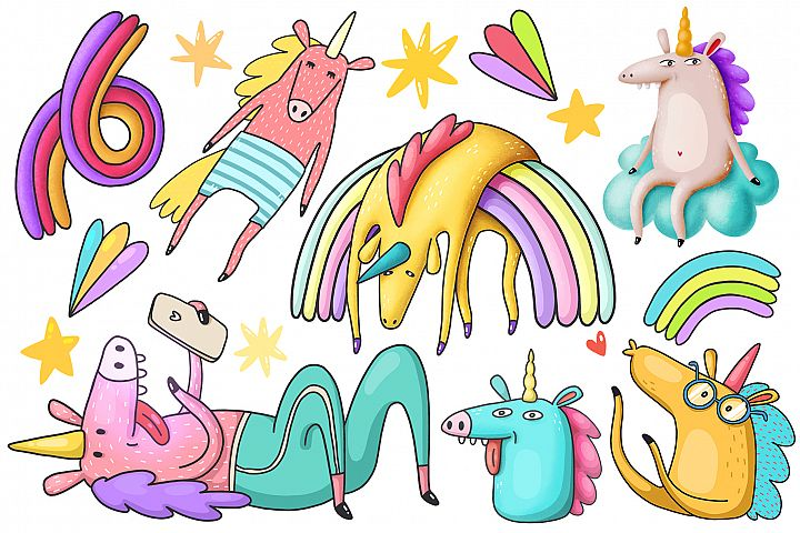 Unicorns clipart collection