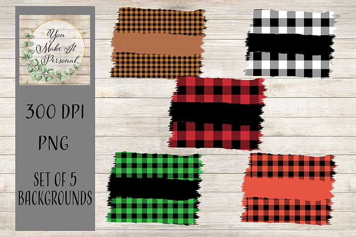 Set of 5, Buffalo Check Backgrounds. Great for Fall!