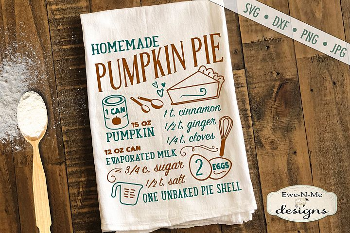 Pumpkin Pie Recipe - Fall - SVG DXF Files
