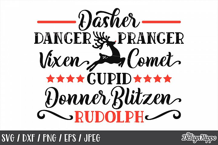 Christmas Reindeer Names, Dasher Dancer Prancer, SVG, PNG