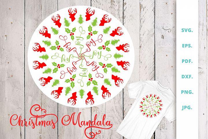 Christmas Mandala With Word Joy Hidden