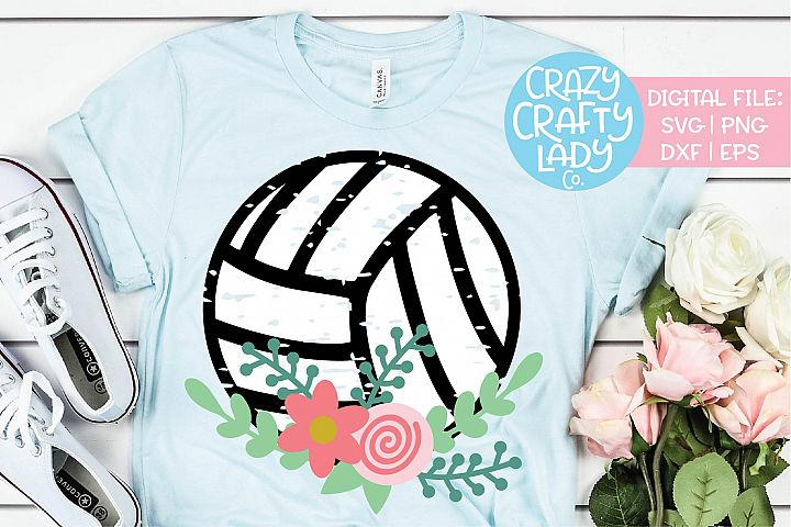 Grunge Floral Volleyball Sports SVG DXF EPS PNG Cut File