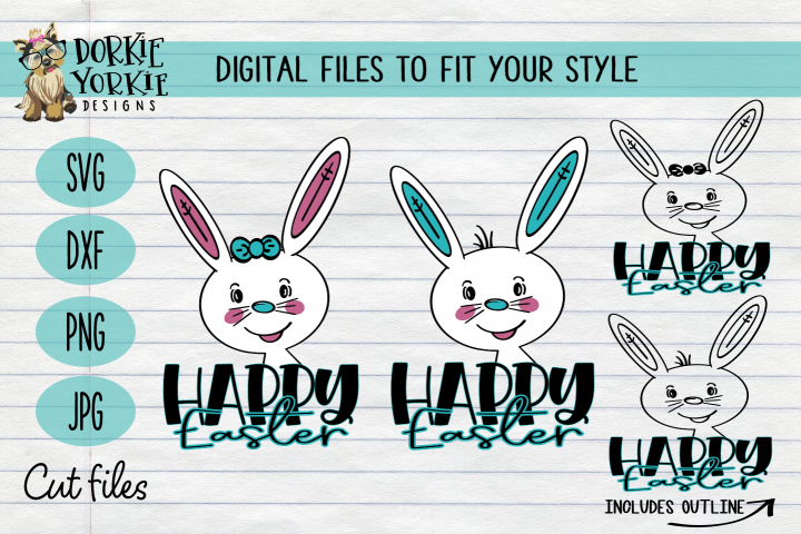 Hand-Drawn - BUNDLE - Boy, Girl Bunny, Happy Easter - SVG Cu